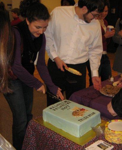 Laura cutting cake